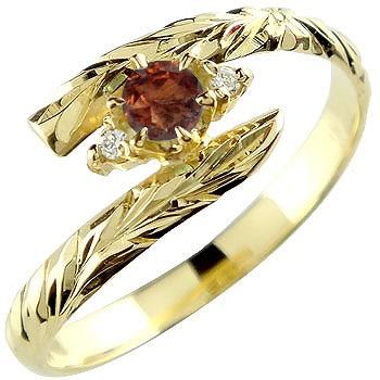 ハワイアンジュエリー リング ガーネット イエローゴールドk18 指輪 ハワイアンリング 18金 k18