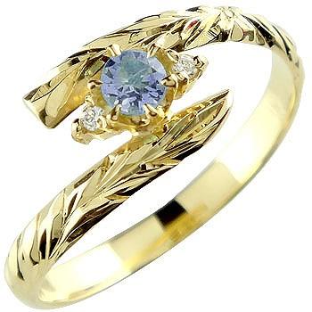 ハワイアンジュエリー リング アイオライト イエローゴールドk18 指輪 ハワイアンリング 18金 k18 ストレート