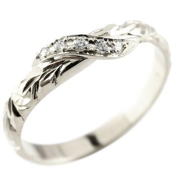 ハワイアンジュエリー ピンキーリング ダイヤモンド ホワイトゴールドk10 リング 指輪 ハワイアンリング ダイヤ k10 10金 スパイラル 10k
