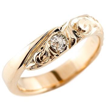ハワイアンジュエリー ピンクゴールドリング 指輪 ハワイアンリング スパイラル k18 レディース