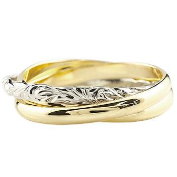 ハワイアンジュエリー 3連リング イエローゴールドk18 プラチナ 指輪 ピンキーリング ハワイアンリング コンビリング 地金リング 18金 pt900