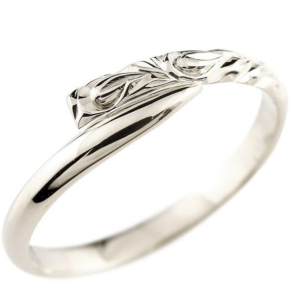 ハワイアンジュエリー ホワイトゴールドリング 指輪 ハワイアンリング スパイラルレ 地金 k18 レディース