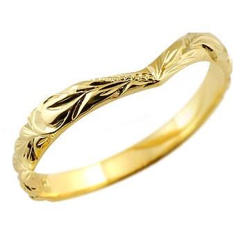 ハワイアンジュエリー ホワイトゴールドリング 指輪 地金 ハワイアンリング v字 k18 レディース