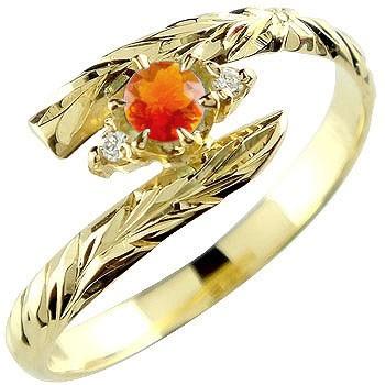 ハワイアンジュエリー リング ファイヤーオパール イエローゴールドk18 指輪 ハワイアンリング 10月誕生石 18金 k18