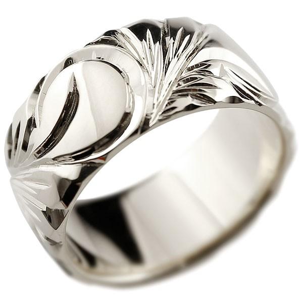 ハワイアンジュエリー ホワイトゴールドリング 幅広 指輪  ハワイアンリング 地金リング  レディース