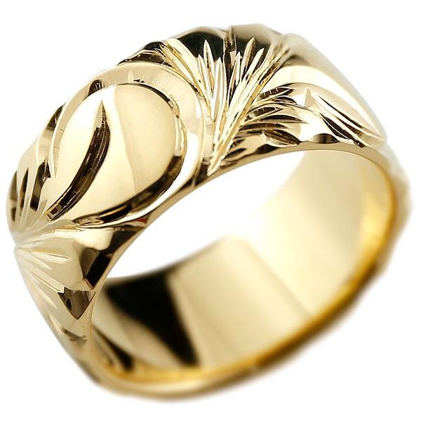 ハワイアンジュエリー イエローゴールドリング 幅広 指輪  ハワイアンリング 地金リング  レディース