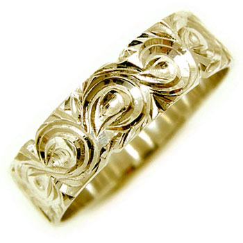 【送料無料・結婚指輪】ハワイアンリングイエローゴールドk18指輪