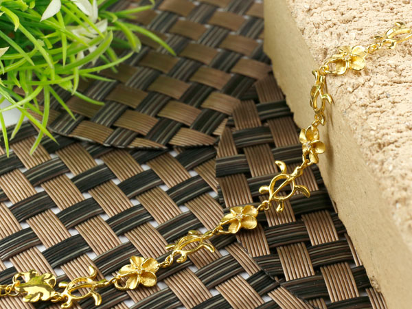 ハワイアンジュエリー ダイヤモンド ブレスレット 亀 花 イエローゴールドk18
