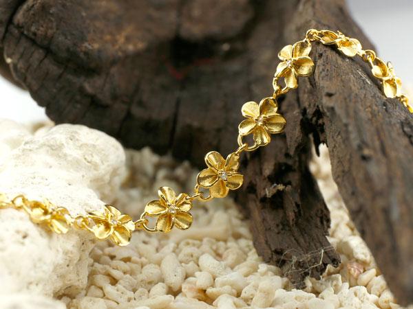 ハワイアンジュエリー ブレスレット 花 キュービックジルコニア イエローゴールドk18