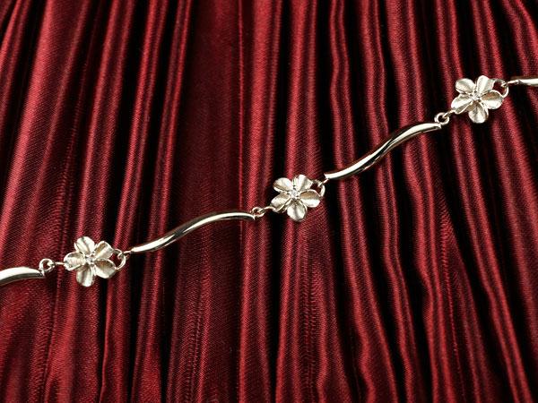 ハワイアンジュエリー ダイヤモンド ブレスレット 花 ホワイトゴールドk18