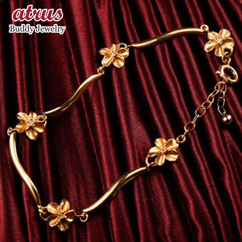 ハワイアンジュエリー ブレスレット 花 キュービックジルコニア ピンクゴールドk18