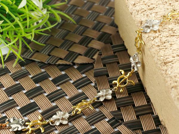 ハワイアンジュエリー ブレスレット 亀 花 キュービックジルコニア イエローゴールドk18 プラチナ