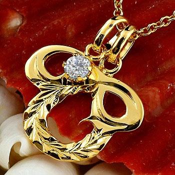 ハワイアンジュエリー イニシャル O ネックレス イエローゴールドk10 ペンダント ダイヤモンド アルファベット レディース チェーン 人気