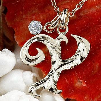 ハワイアンジュエリー イニシャル Y ネックレス ホワイトゴールドk10 ペンダント ダイヤモンド アルファベット レディース チェーン 人気