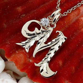 ハワイアンジュエリー イニシャル M ネックレス ホワイトゴールドk18 ペンダント ダイヤモンド アルファベット レディース チェーン 人気