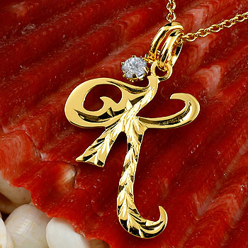 ハワイアンジュエリー イニシャル K ネックレス イエローゴールドk10 ペンダント ダイヤモンド アルファベット レディース チェーン 人気