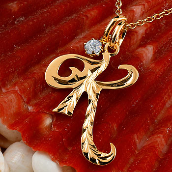 ハワイアンジュエリー イニシャル K ネックレス ピンクゴールドk18 ペンダント ダイヤモンド アルファベット レディース チェーン 人気