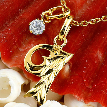 ハワイアンジュエリー イニシャル I ネックレス イエローゴールドk10 ペンダント ダイヤモンド アルファベット レディース チェーン 人気