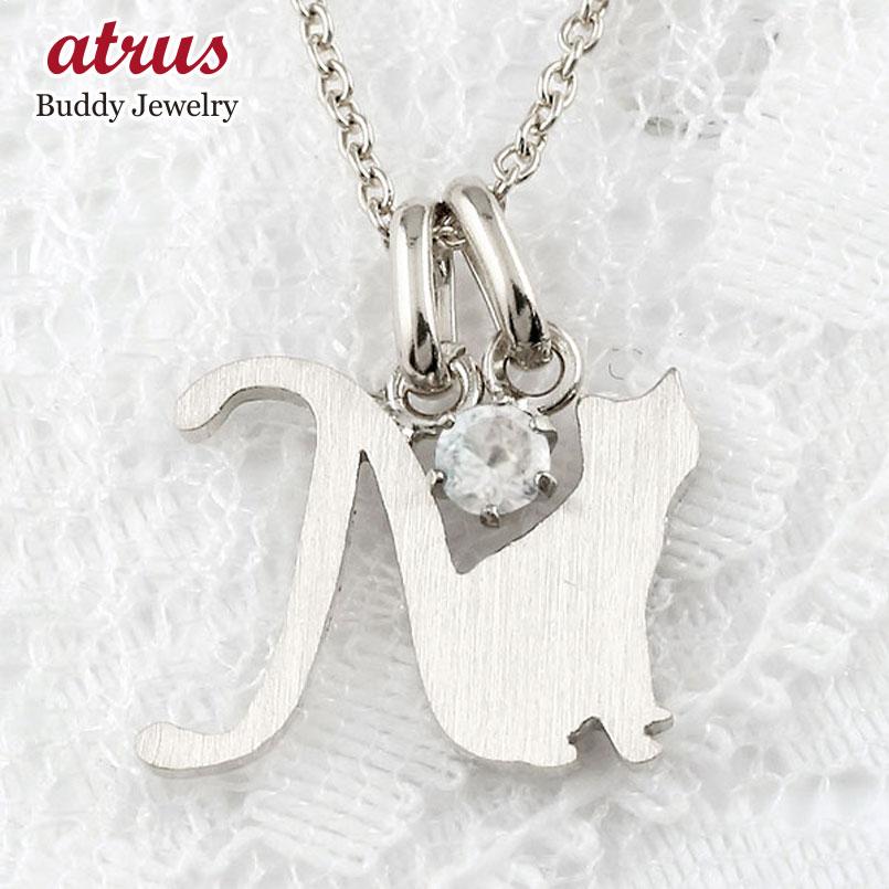 イニシャル N 猫 ネックレス ブルームーンストーン プラチナ ペンダント アルファベット ネーム ネコ ねこ ヘアライン仕上げ レディース チェーン 人気 6月誕生石