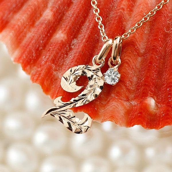 ハワイアンジュエリー 数字 2 ダイヤモンド ネックレス ペンダント ピンクゴールドk10 ナンバー レディース チェーン 人気 4月誕生石