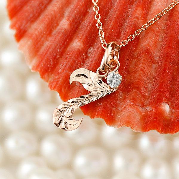 ハワイアンジュエリー 数字 7 ダイヤモンド ネックレス ペンダント ピンクゴールドk18 ナンバー レディース チェーン 人気 4月誕生石
