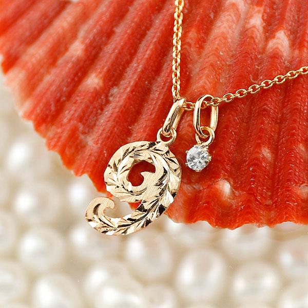 ハワイアンジュエリー 数字 9 ダイヤモンド ネックレス ペンダント ピンクゴールドk10 ナンバー レディース チェーン 人気 4月誕生石