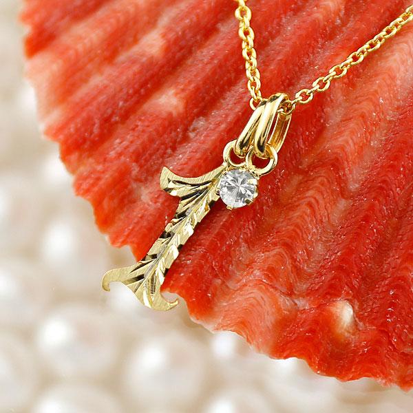 ハワイアンジュエリー 数字 1 ダイヤモンド ネックレス ペンダント イエローゴールドk10 ナンバー レディース チェーン 人気 4月誕生石