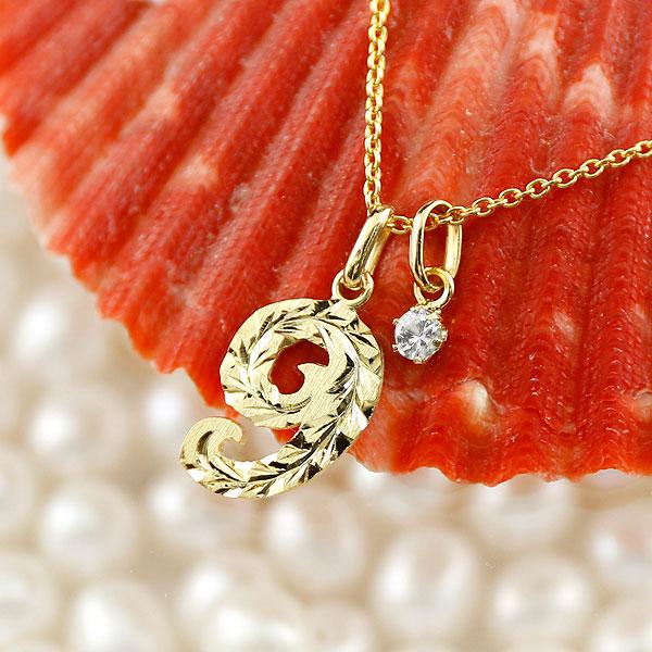 ハワイアンジュエリー 数字 9 ダイヤモンド ネックレス ペンダント イエローゴールドk10 ナンバー レディース チェーン 人気 4月誕生石