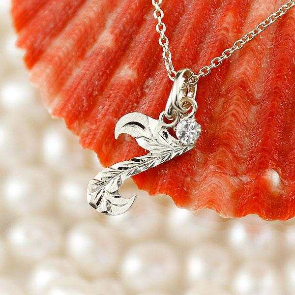ハワイアンジュエリー 数字 7 ダイヤモンド ネックレス ペンダント シルバー ナンバー レディース チェーン 人気 4月誕生石