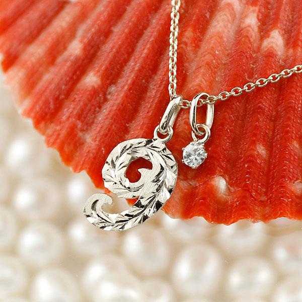 ハワイアンジュエリー 数字 9 ダイヤモンド ネックレス ペンダント ホワイトゴールドk10 ナンバー レディース チェーン 人気 4月誕生石