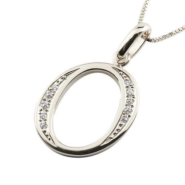 イニシャル O ネックレス プラチナ ペンダント ダイヤモンド アルファベット レディース チェーン 人気