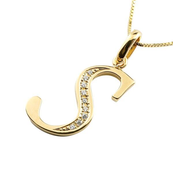 イニシャル S ネックレス イエローゴールドk18 ペンダント ダイヤモンド アルファベット レディース チェーン 人気
