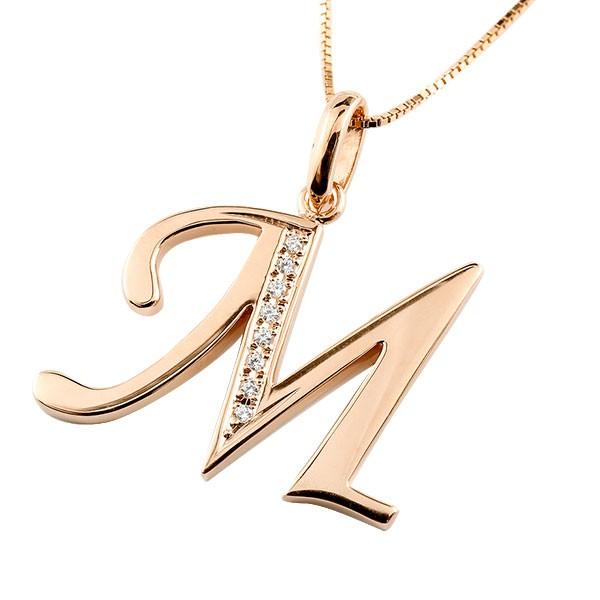 イニシャル M ネックレス ピンクゴールドk18 ペンダント ダイヤモンド アルファベット レディース チェーン 人気