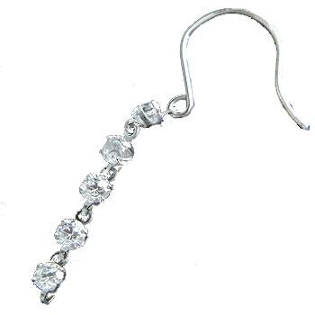 ダイヤモンド 片耳ピアス ロングピアス ホワイトゴールドk18 フックピアス