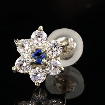 片耳ピアス ダイヤモンド ブルーサファイア プラチナ ピアス フラワー 花 スタッドピアス レディース