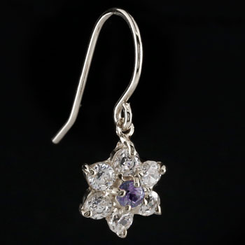 ダイヤモンド アメジスト ピアス フラワー 花 フックピアス ホワイトゴールドk18 レディース