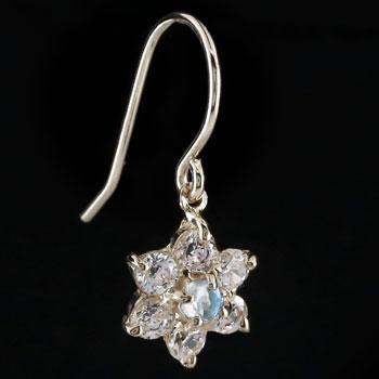 ダイヤモンド ブルームーンストーン プラチナ ピアス フラワー 花 フックピアス レディース