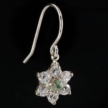 ダイヤモンド ペリドット プラチナ ピアス フラワー 花 フックピアス レディース
