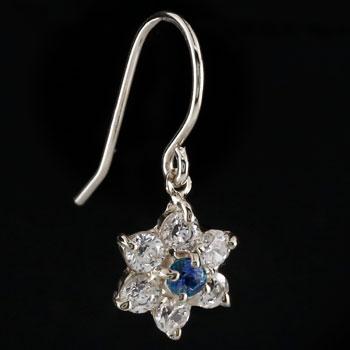 ダイヤモンド サファイア ピアス フラワー 花 フックピアス ホワイトゴールドk18 レディース