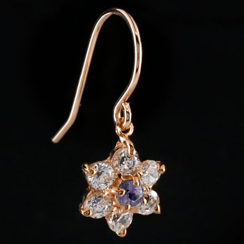 ダイヤモンド アメジスト ピアス フラワー 花 フックピアス ピンクゴールドk18 レディース