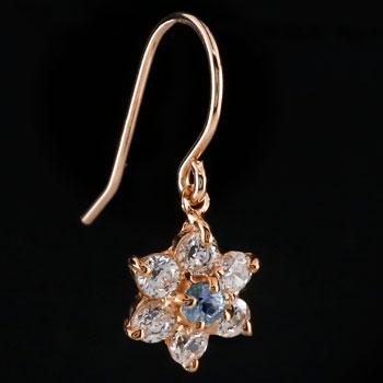 ダイヤモンド タンザナイト ピアス フラワー 花 フックピアス ピンクゴールドk18 レディース