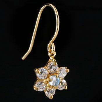 ダイヤモンド ブルームーンストーン ピアス フラワー 花 フックピアス イエローゴールドk18 レディース