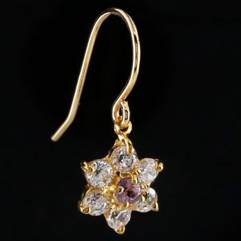 ダイヤモンド ピンクトルマリン ピアス フラワー 花 フックピアス イエローゴールドk18 レディース