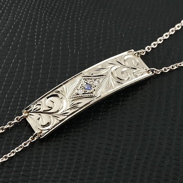 メンズ ハワイアンジュエリー ブレスレット プレート アイオライト シルバー925 ダイヤモンド ミル打ち ダイヤ