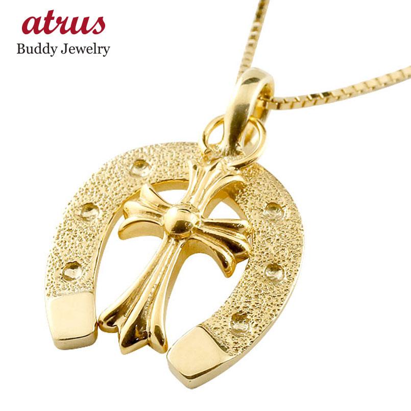 メンズ 馬蹄 ネックレス クロス ペンダント イエローゴールドk18 ホースシュー 十字架 18金 シンプル チェーン 人気 蹄鉄 男性用