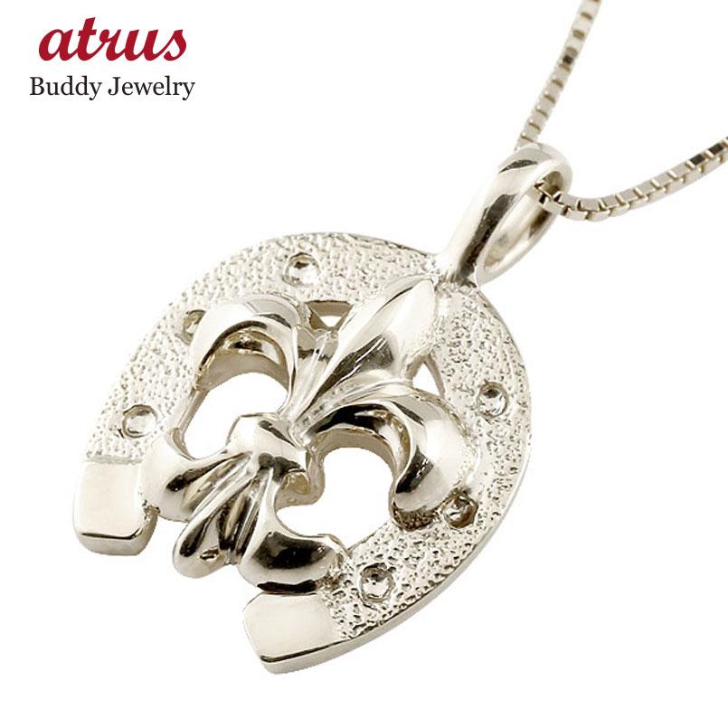 メンズ 馬蹄 ネックレス  ユリの紋章 プラチナ ペンダント ホースシュー pt900 シンプル チェーン 人気 蹄鉄