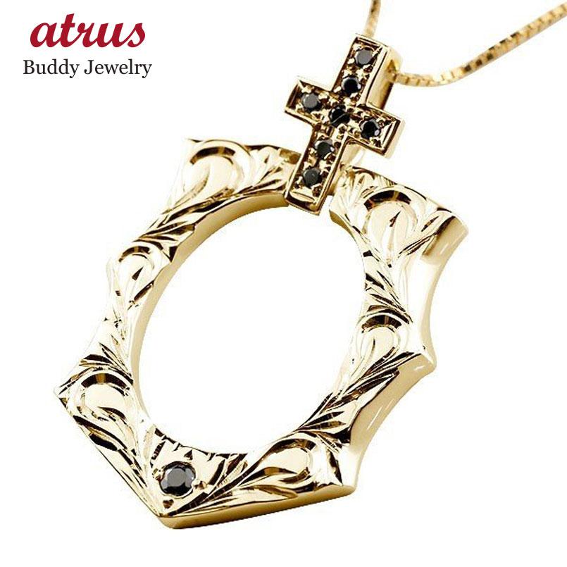メンズ ハワイアン ブラックダイヤモンド 馬蹄 イエローゴールドk18 クロス ネックレス ペンダント 18金 十字架 ホースシュー 蹄鉄 アンティーク風 チェーン 人気
