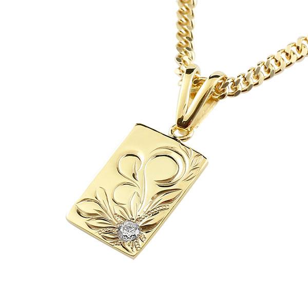喜平用 イエローゴールドk10 ハワイアンジュエリー 天然ダイヤモンド ネックレス ハワジュ プレート シンプル 10金 人気