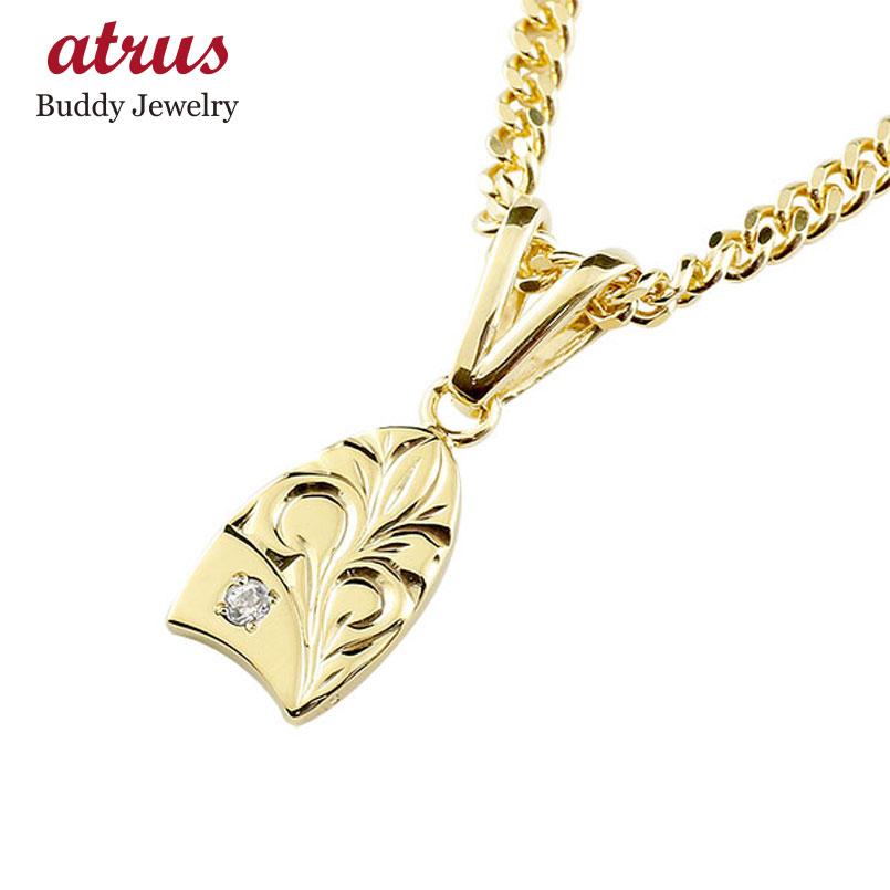 喜平用 イエローゴールドk18 ハワイアンジュエリー 天然ダイヤモンド ネックレス ハワジュ プレート サーフボード シンプル 18金 人気