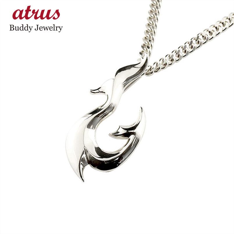 フィッシュフック ネックレス プラチナ 釣針 ペンダント 地金 シンプル pt900 チェーン 人気